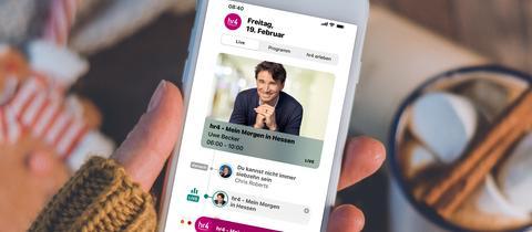 Die neue hr4-App auf einem Smartphone