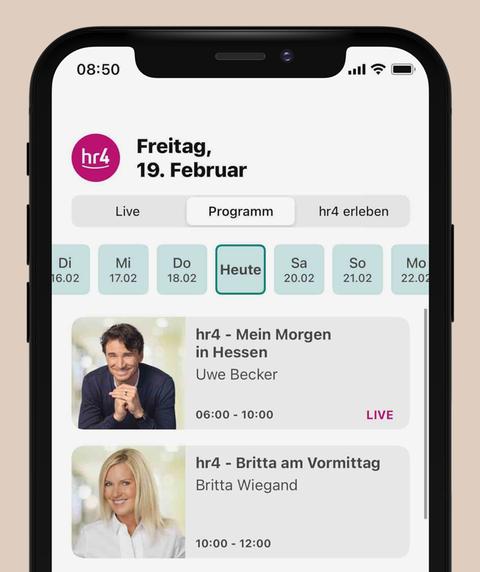 """Der Bereich """"Programm"""" in der neuen hr4-App"""