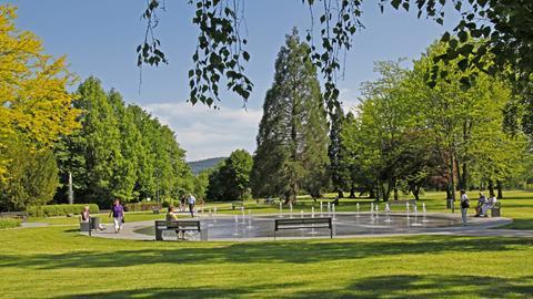 Der Springbrunnen im Kurpark von Bad Soden-Salmünster
