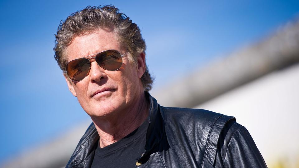 David Hasselhoff am 20.03.2014 die East Side Gallery in Berlin