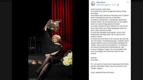 Mary Roos: Statement auf der Facebook-Seite