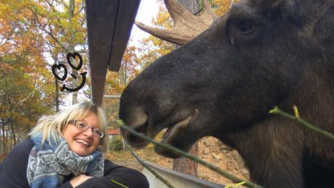 Kirsten Neumann und ihr Elch