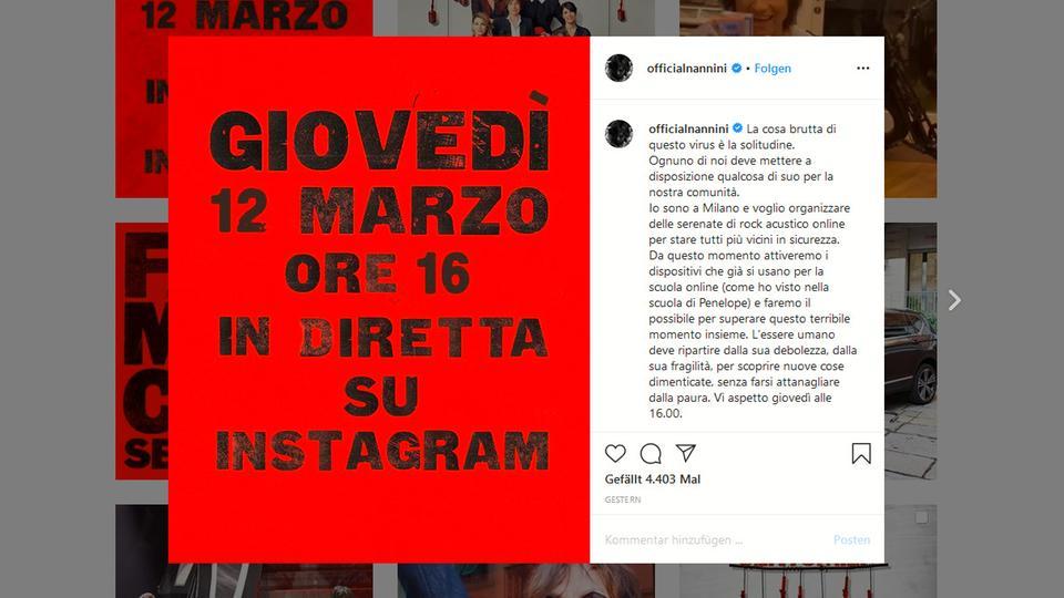 Konzertankündigung von Gianna Nannini auf Instagram
