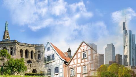 Das Bild zeigt den Herkules in Kassel, Fachwerkhäuser und die Skyline in Frankfurt/Main