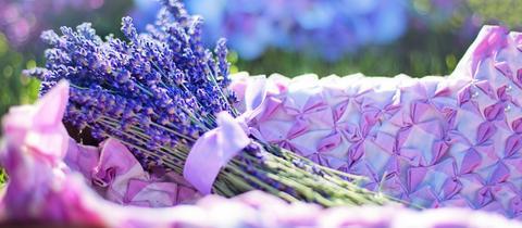 Ein Bündel Lavendelblüten liegt in einem Korb