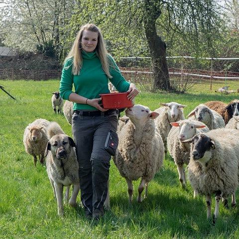 Melanie Brost und ihre Schafe