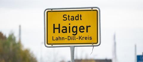 Ortsschild von Haiger im Lahn-Dill-Kreis