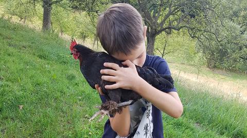 Veras Sohn Jakob mit einem Huhn