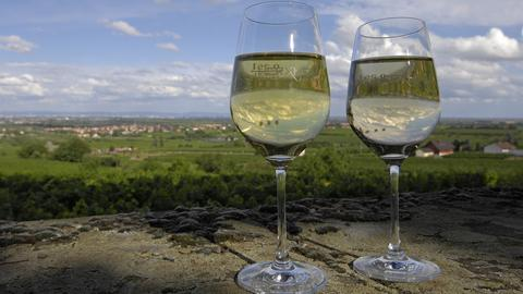Zwei Weingläser vor der Kulisse von Herxheim