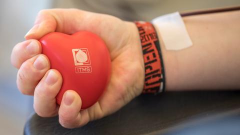 Um den Blutfluss zu fördern, kann man beim Blutspenden auch einen Ball kneten.