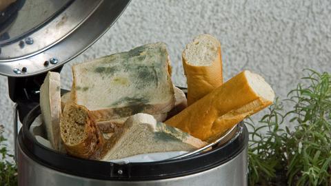 Schimmliges Brot im Mülleimer
