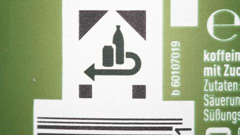 Pfandzeichen auf Einwegflaschen und -dosen