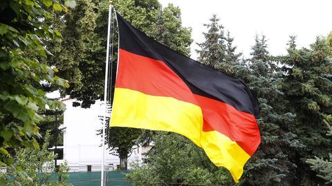 Deutschland-Flagge in einem Kleingarten