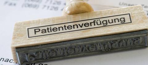 """Stempel mit der Aufschrift """"Patientenverfügung"""""""