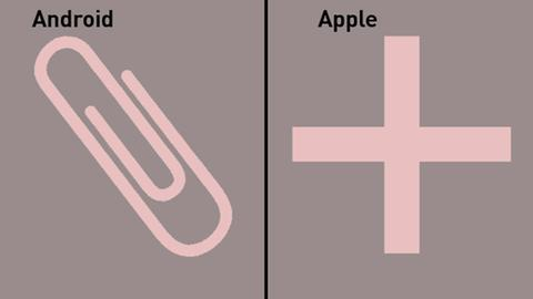 Messenger-Symbole: Android - Büroklammer / Apple - Plus-Zeichen
