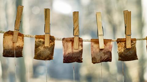 Gebrauchte Teebeutel werden an einer Leine getrocknet