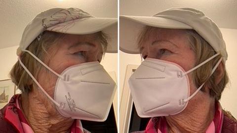 Margret de Laat mit ihrer Lösung zum Tragen der Maske