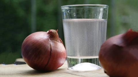 Zwiebeln neben einem Glas Zwiebelsud