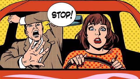 """Beifahrer schreit """"Stop"""" - Grafik"""