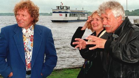 """Bernhard Brink mit Carlo von Tiedemann und Sabine Steuernagel 1997, """"Die Aktuellen Schaubude"""""""