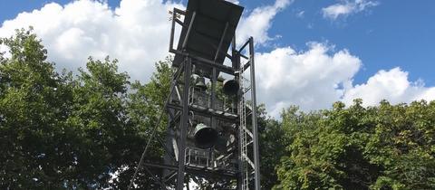 Glockenturm der Philippuskirche in Frankfurt-Riederwald