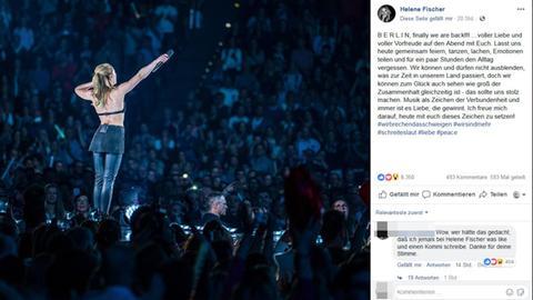 Helene Fischer setzt auf Facebook ein Zeichen gegen Rassismus und Fremdenfeindlichkeit