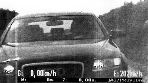 Blitzerfotos - Drängler auf der Autobahn wird von der Polizei aus einem zivilen Fahrzeug fotografiert