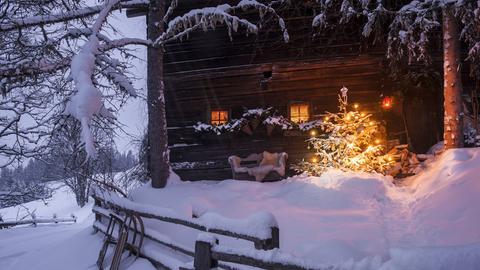 Weihnachtsbaum im Schee